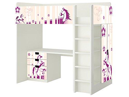 Pferdewelt Aufkleber - SH05 - passend für die Kinderzimmer Hochbett-Kombination STUVA von IKEA - Bestehend aus Hochbett, Kommode (3 Fächer), Kleiderschrank und Schreibtisch - Möbel Nicht Inklusive | STIKKIPIX