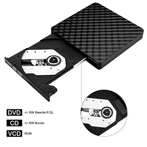 Externes CD DVD Laufwerk BEVA Tragbarer USB 3.0 DVD/CD Brenner und -Lesegerät/Plug&Play/niedriger Lärm/Slim Superdrive für Laptop, Desktop, Mac, MacBook, Ios, Windows 10/8/7/XP und Linux