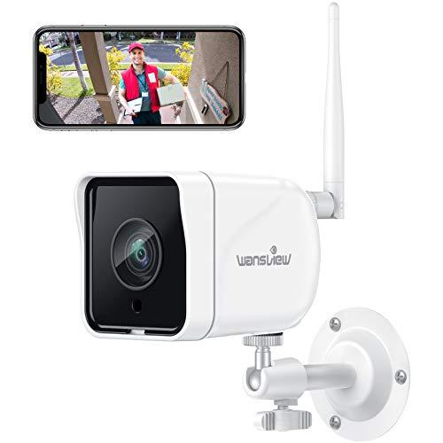 Wansview Überwachungskamera Aussen, WLAN IP Kamera 1080P Outdoor WiFi mit IP66 wasserdicht, Bewegungserkennung, Zwei Wege Audio, SD-Kartenslot, ONVIF und RTSP, funktioniert mit Alexa W6 Weiß