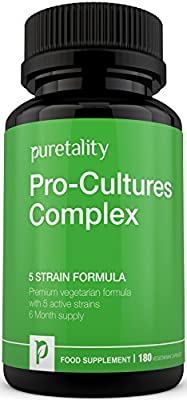 Pro-Cultures Complex 5- strain formula 180 capsules (6 Month Supply) - 10 Billion CFU Source Powder - Vegetarian High Strength Includes Lactobacillus - Acidophilus by Puretality