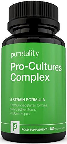 Pro-Cultures Complex 5- strain formula 180 capsules (6 Month Supply) - 10 Billion CFU Source Powder - Vegetarian High Strength Includes Lactobacillus - Acidophilus by Puretality