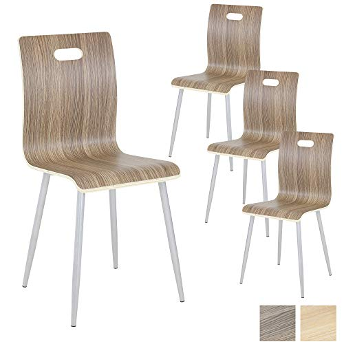 Albatros Silla de Cocina y de Comedor Turin, Set de 4 sillas, Nogal, de Madera contrachapada