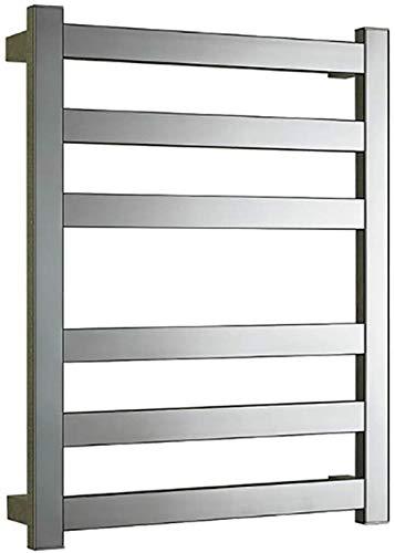 Toallero Eléctrico Bajo Consumo Toalla de calentador y estante de secado, bastidor de toalla con calefacción de pared con 6 barras calefactoras pulido cromado 304 acero inoxidable 25.2x19.7x4 pulgada,