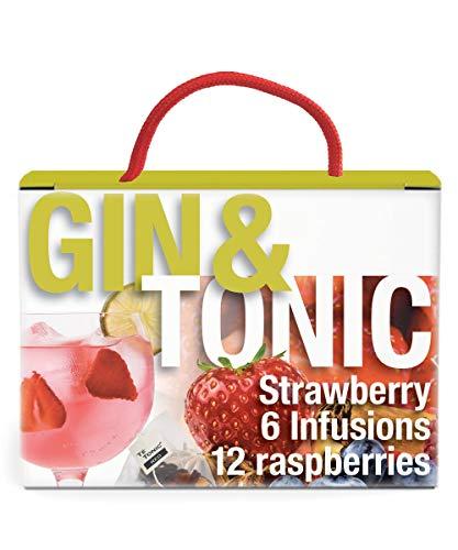 Gin Tonic Cocktail Aufgussbeutel Erdbeer und Himbeer - Ideal für Gin Cocktails mit außergewöhnlichem Fruchtgeschmack. Gin Geschenk Box für Cocktail-Fans mit 6 + 12 Beuteln 100% natürliche Gin Gewürze