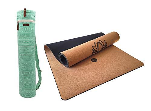 Tappetino yoga in sughero + borsa per il trasporto | Antiscivolo ecologico con base in gomma naturale (4 mm) | Per allenamento fitness e pilates | 185x61cm (Namasté)