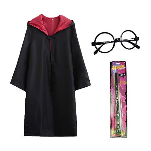 Amycute Costume di Wizard, Mantello Magico + Occhiali da Mago Rotondi + Bacchetta Magica di Plastica (M)
