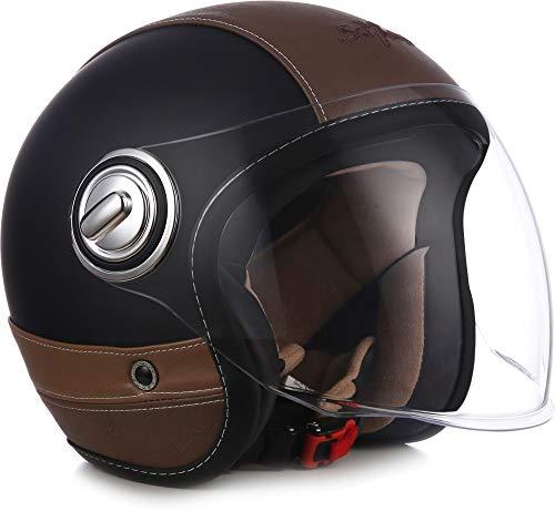 "Soxon® SP-888 Pro ""Urban Black"" · Jet-Helm · Motorrad-Helm Roller-Helm Scooter-Helm Moped Mofa-Helm Chopper Retro · ECE 22.05 Sonnenvisier Leather-Design Schnellverschluss SlimShell Tasche M (57-58cm)"