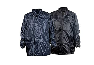 Krystle Men's Black and Navy Blue Windcheater with Hidden Collar Pocket for Cap Combo of 2