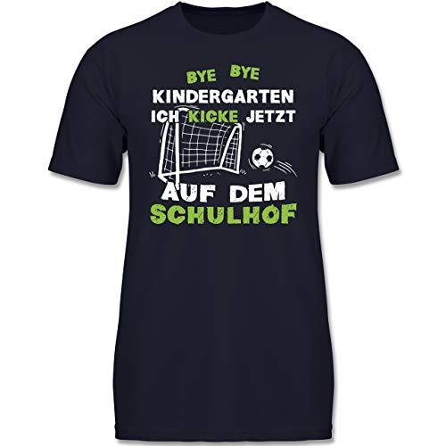 Einschulung und Schulanfang - Bye Bye Kindergarten Einschulung Fußball - 128 (7/8 Jahre) - Dunkelblau - F130K - Kinder Tshirts und T-Shirt für Jungen