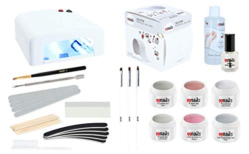 99nails French Nails Set Gelnägel Set Nagelset mit French Gel und UV Lampe Nägel Starterset