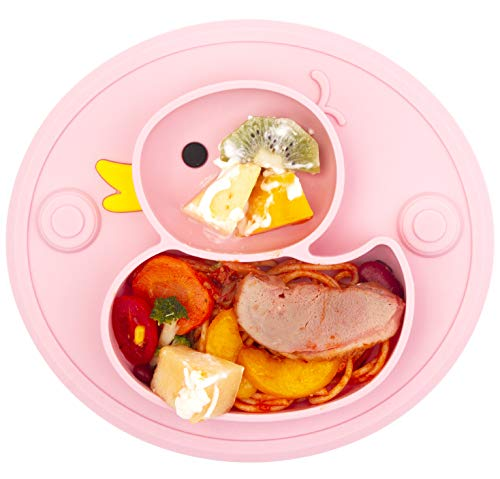 Lightening Corp Baby Plate Silicone Toddler Plates Suction Placemat Divided Dishes for Kids and Infants One-Piece Strong Suction, BPA Free, Microwave Dishwasher Safe (Pink)