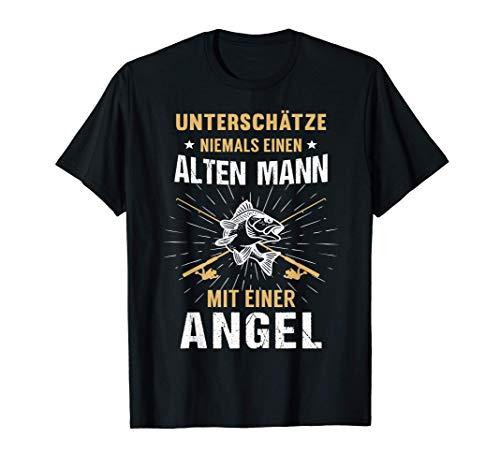Herren Angler Angeln Papa Vater Opa Angelrute Vatertag Geschenk T-Shirt