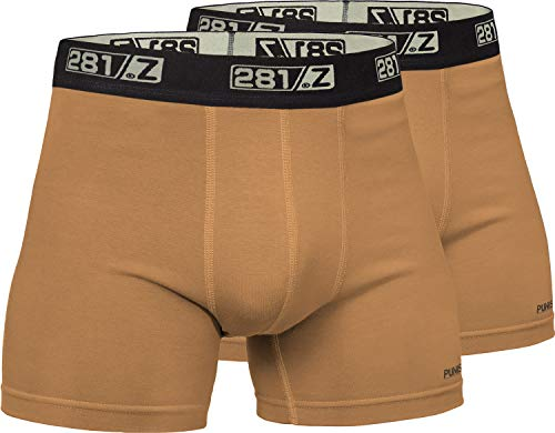 281Z Military Underwear Cotton 4-Inch Boxer Briefs - Tactical Hiking Outdoor - Punisher Combat Line (Large, Coyote Brown (2 Pack))