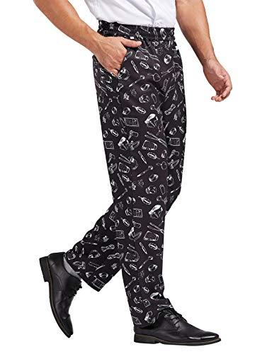 Nanxson Unisex Professionali Pantaloni da Cuoco Uomo Cotone Pantaloni da Chef Elastico Pantaloni da Lavoro Stampati CFM2007 (Large, Piatti)