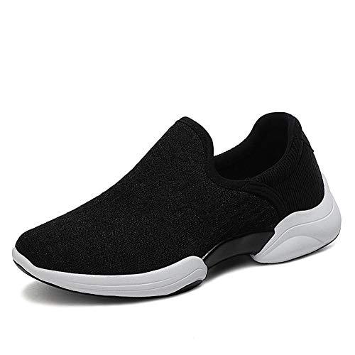 [Anleesi] レディーススニーカー スリッポン 安全靴 デッキシューズ 超軽量 ウォキングシューズ 紐なし ナースシューズ 看護師 作業靴 着脱簡単 お母さん 婦人靴 ママシューズ シューズ 中高齢者靴 黒い ブラック 24.5cm