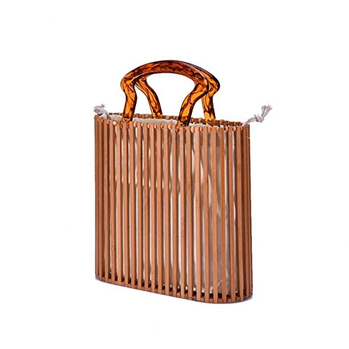 Yoofa - Neceser de bambú, cuadrado, vertical, hecho a mano para el verano y la playa, bolsos Hollow Out trenzados de ratán y bambú, bolso de mujer vintage