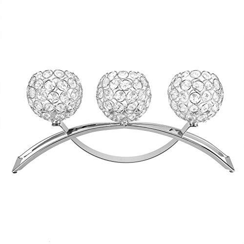 LLDKA Kandelaar, drie koppen kristal Kandelaar theelicht houder Crystal Votive thee licht kaars houder in vel vorm, decoratie voor bruiloft vakantie viering verjaardag
