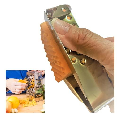 Finger Guard for Cutting - Finger Protector & Safe Finger Guard for Cheese Grater, Mandoline Slicer, Vegetable Slicer - Dishwasher Safe Stainless Steel Kitchen Gadgets for Easy Grating & Slicing