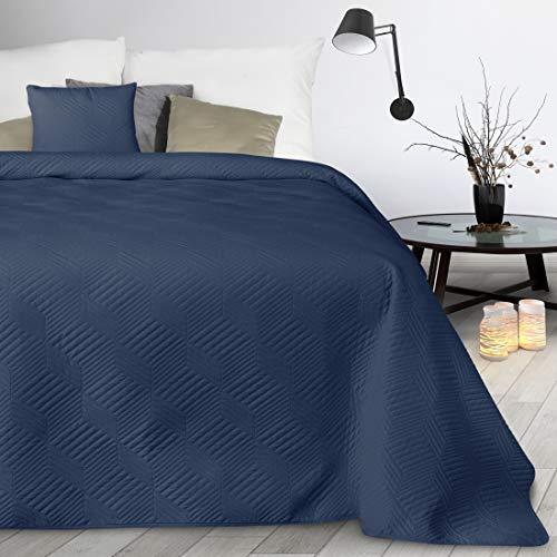 Design91 Decke, Tagesdecke, Bettüberwurf, Sofaüberwurf, Allzweckdecke, 170x210 cm, 220x240 cm, Steppung, Muster Boni. (Dunkelblau 2, 170X210 cm)