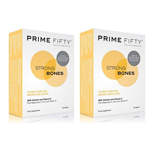 PRIME FIFTY Strong Bones | Over 50 Multivitamins & Minerals Targetted for Bone Support | For 50, 60, 70 Plus Men Women | Wiser Than Just Calcium Tablets or Generic Multi Vitamins | 30Tabs *2Pck +eBook