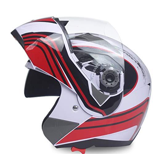 Qianliuk Casco Integrale Safe Flip up Moto Motocross Moto Casco Racing Motocross con Visiera Solare Interno