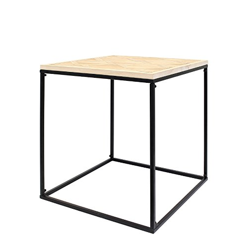 THE HOME DECO FACTORY HD3823 Table Carree Bois ET Metal, MDF, 50,5x50,5x20,5 cm