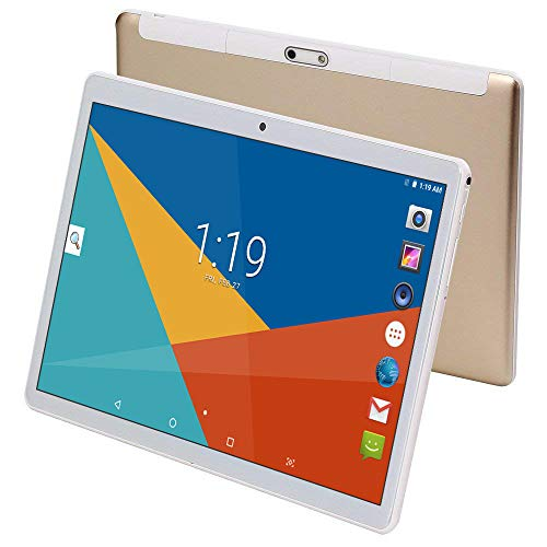 Tablets 10 Pulgadas Android 8.1,Octa Core,4GB de RAM,64GB de Memoria Interna,1280*800 HD IPS,3G Tablet,Dual SIM,WiFi/Bluetooth/GPS/OTG (Oro)