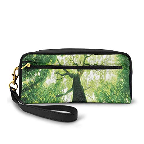 Pencil Case Pen Bag Pouch Stationary,Sunlights to Woodland Wild Habitat Summer Rays Dreamy Foliage Park Landscape,Small Makeup Bag Coin Purse