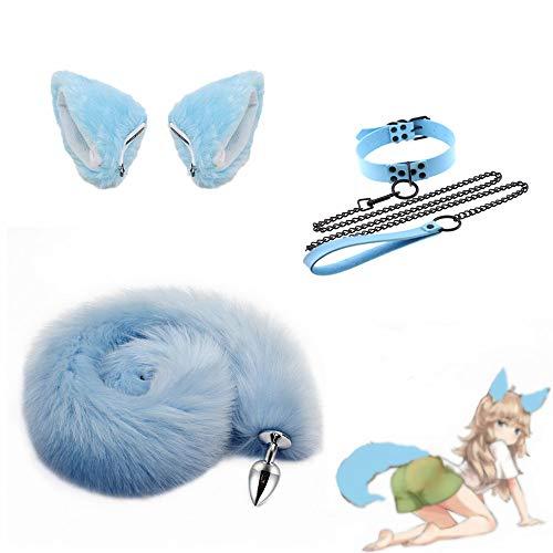 Juego de Accesorios de Escenario de Moda para Fiesta de Cosplay Misterioso Fox Wolf Tail Blue Cat Ears Hairhoop Punk Traccin Cadena Collar (S)