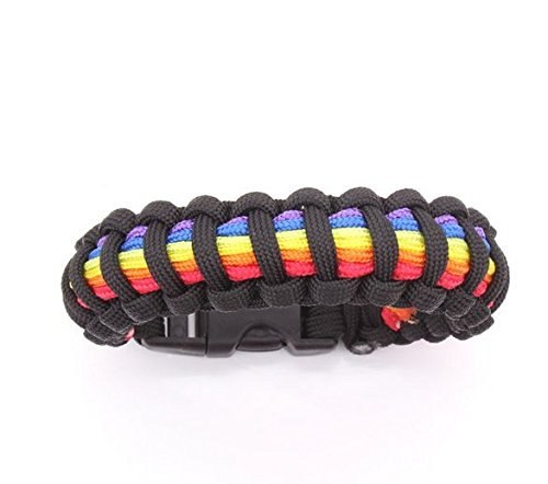 Paracord Survival Bracelet Rainbow Pride Design Easy Plastic Clasp