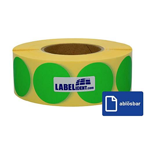 Labelident Markierungspunkte grün - Ø 50 mm - 1000 bunte Klebepunkte, 1 Rolle(n), 3 Zoll Rollenkern, Papier wieder ablösbar