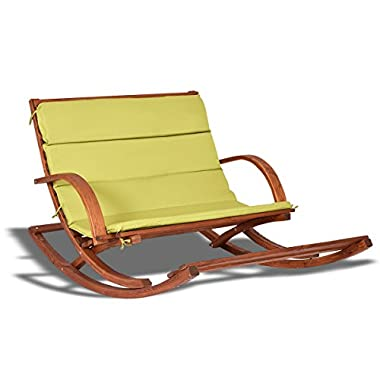 2-Persons Rocking Wooden Lounge Chair with Cushion