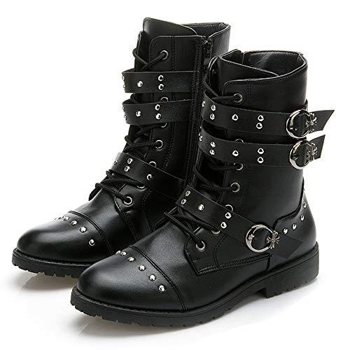 WTSXXN Knight Boots Unisex Martin Stiefel High Top Motorrad-Sicherheits-Boots Buckle Nieten Anti Slip Patrol Stiefel,Schwarz,44