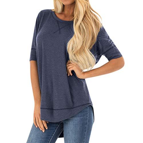 TWIFER Damen Plus Größe Shirt Sommer Tops Beiläufige Kurze Hülse Genähte Detail Blusen Spleiß Hemd Oberseiten