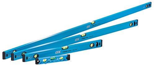 OX Tools OX-T500404 Set-600, 1200 & 1800mm Trade 230mm Torpedo Level, Blue, 4 Piece Set
