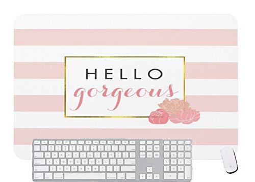 Alfombrilla de ratón para juegos Hello Gorgeous Pink Stripe & Blush Peony para escritorio y portátil 1 paquete de 700 x 300 x 3 mm