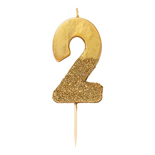 Talking Tables BDAY GLD Gold Glitter Number 2 Candle| Premium Quality Cake Topper Decoration | Pretty, Sparkly For Kids, Adults, 21st Birthday Party, Anniversary, Milestone Age, Height 8cm, 3'