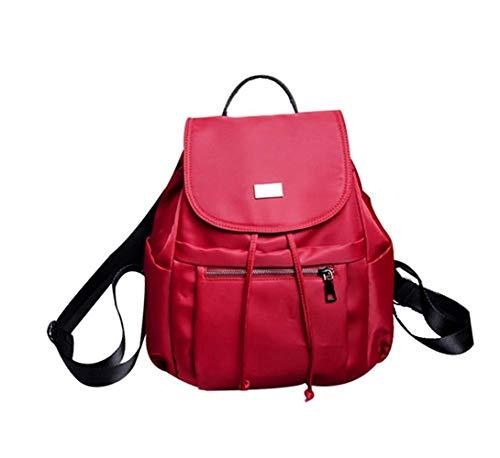 Nylon wasserdichte Outdoor-Lenden-Rucksack Mädchen Solid Color Urban Daypack mit Klappe Mode Reiserucksack, Rot