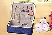 プリンセス木製ジュエリーボックス日本のジュエリーボックス女性用レザージュエリー収納ボックス高級ジュエリーボックス家の装飾(色:青)