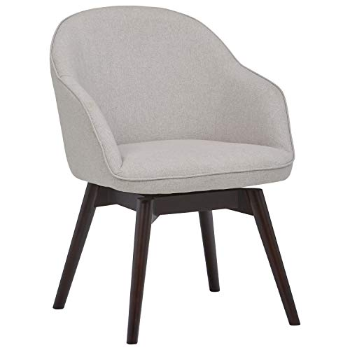 Amazon Brand – Rivet Vern Contemporary Round-Back Swivel Dining Chair with Arms, 32'H, Felt Grey