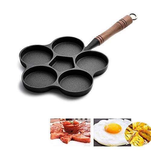 MAIFENGLE Spezialpfanne für Spiegeleier Gusseisen, 6 Gitter, Antihaft Beschichtung, Pfannkuchen-Omelettpfanne, Speiseöl sparen, schwarz