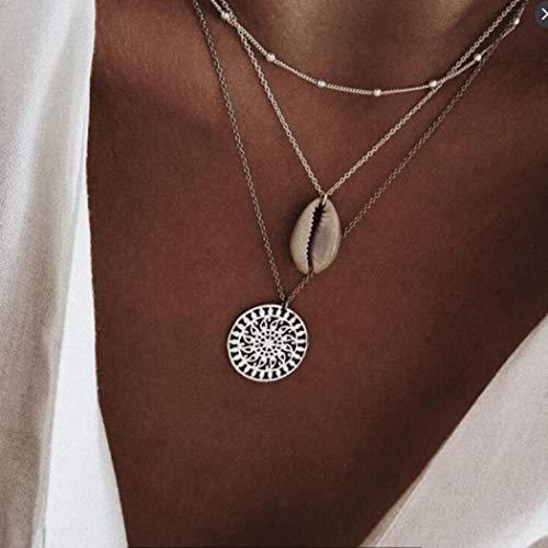 Yienate Collar Bohemia para mujer y adolescente de moda simple con colgante de concha de personalidad para niñas