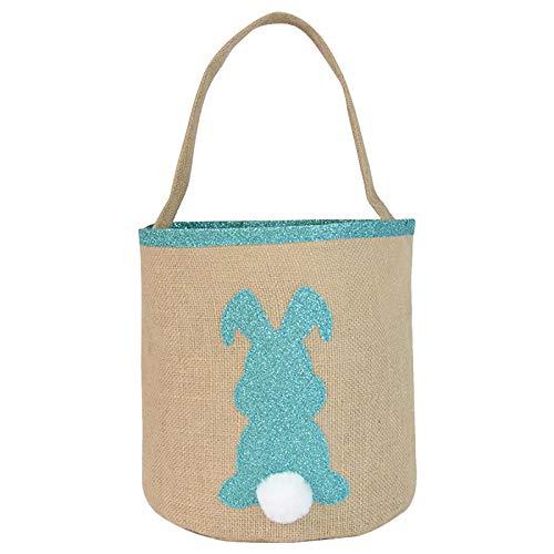 Fascino-M Osterhasen Taschen Jute Sackleinen Hasenohr Einkaufskörbe Für Die Eiersuche|Osterkörbe,Osternest Kinder ,Ostern Deko (Blau)