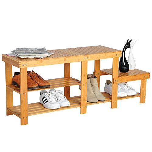 WOLTU SR0058 Schuhregal Schuhablage Sitzbank Schuhständer Schuhe Ständer Regal aus Bambus, 112 x...
