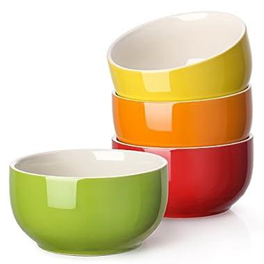 Lifver 20-Ounce Porcelain Soup/Cereal Bowl Set - 4 Packs, Assorted Colors