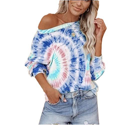 OtoñO E Invierno Nuevas Mujeres Camiseta Suelta De Manga Larga con Estampado Tie-Dye