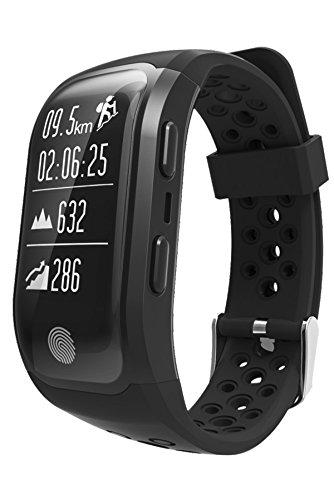 loluka GPS Fitness Tracker Reloj Mujer Resistente al Agua Natación Actividad Tracker Frecuencia Cardíaca Reloj Deportivo Bluetooth Negro