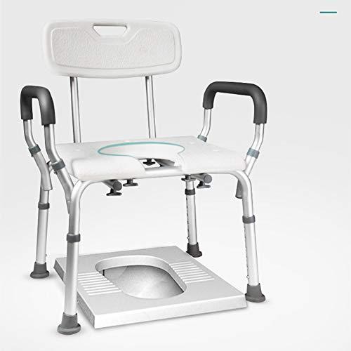 L&KW Leichter klappbarer Toilettenstuhl mit herausnehmbarem Toplader für ältere Senioren Behinderte Großeltern,Weiß