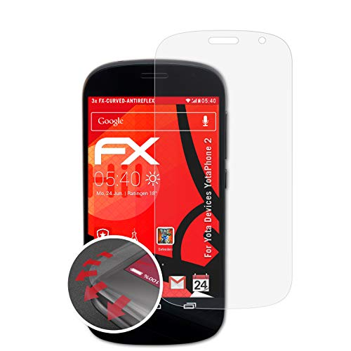 atFolix Schutzfolie kompatibel mit Yota Devices YotaPhone 2 Folie, entspiegelnde & Flexible FX Bildschirmschutzfolie (3X)