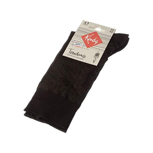 Kindy – Socken Fantasie, hergestellt in Frankreich, aus Schottengarn Gr. 39/42, Schwarz